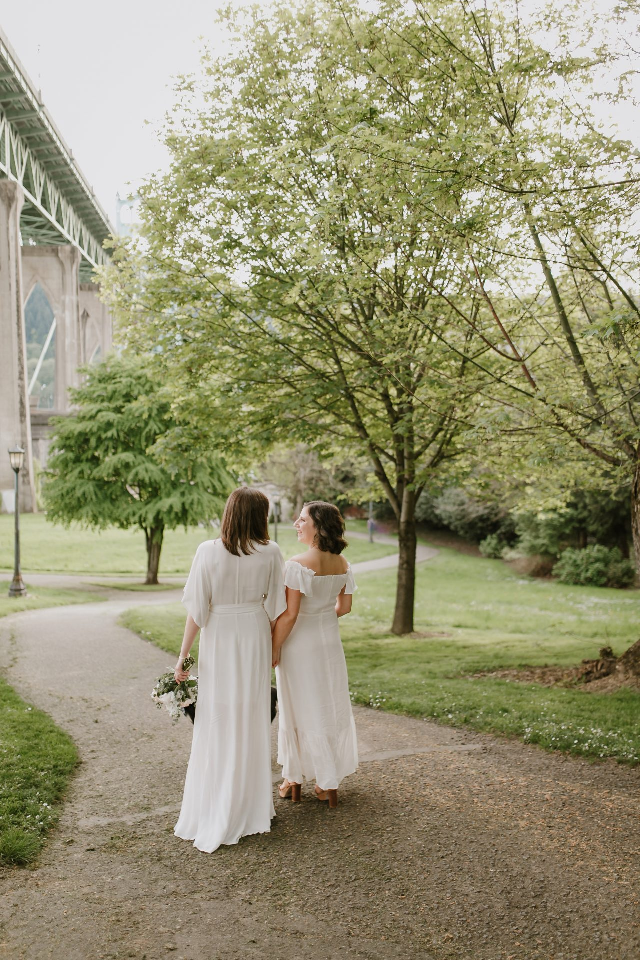 two brides in cathedral park