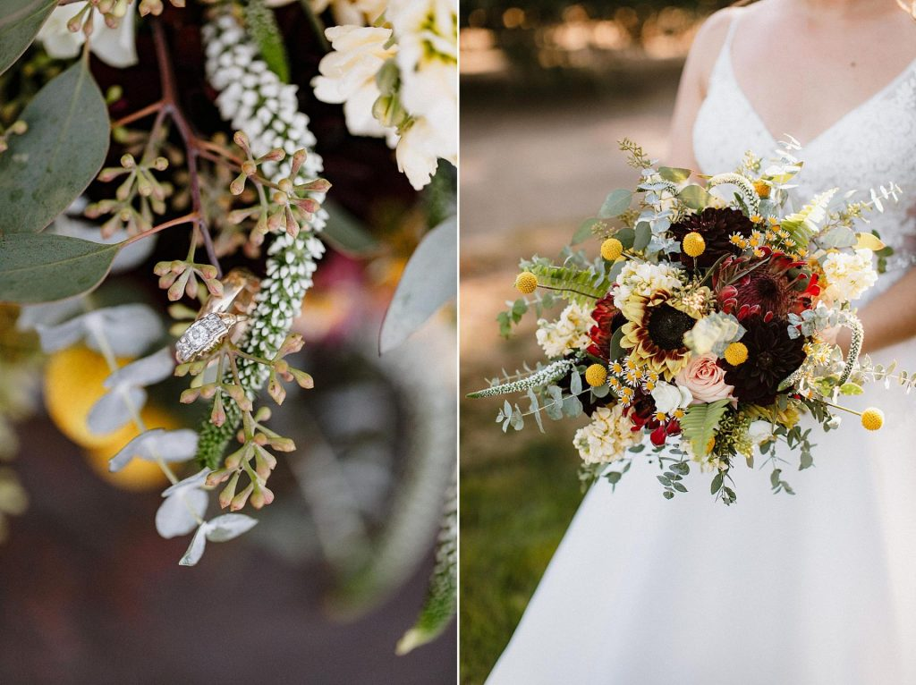 a bouquet at a wedding at lewis and clark college